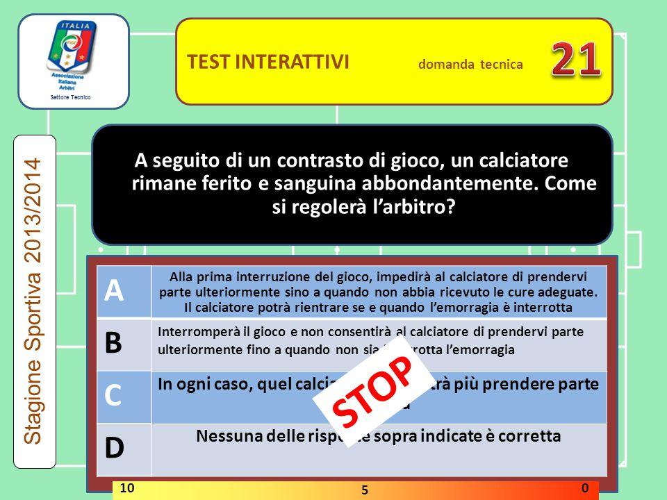 21 STOP A B C D A B C D TEST INTERATTIVI domanda tecnica