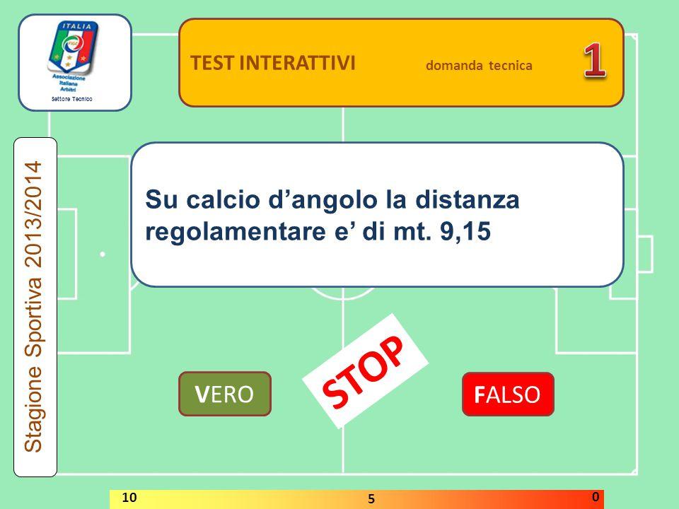 1 STOP Su calcio d'angolo la distanza regolamentare e' di mt. 9,15
