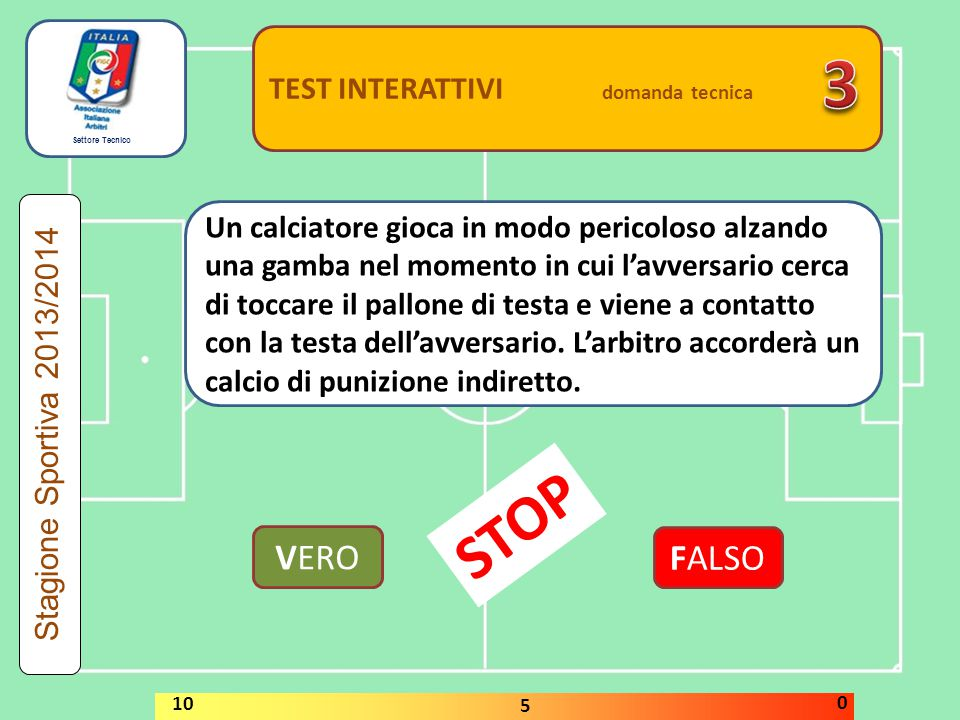 3 STOP VERO FALSO TEST INTERATTIVI domanda tecnica
