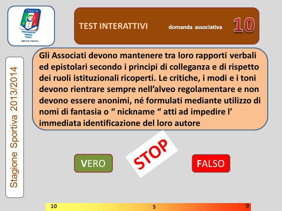 10 STOP VERO FALSO TEST INTERATTIVI domanda associativa