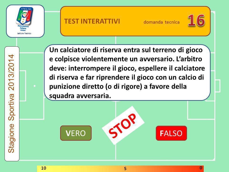 16 STOP VERO FALSO TEST INTERATTIVI domanda tecnica