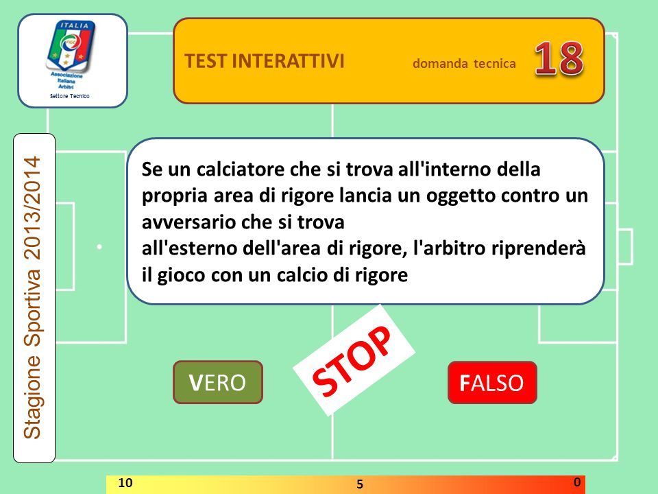 18 STOP VERO FALSO TEST INTERATTIVI domanda tecnica