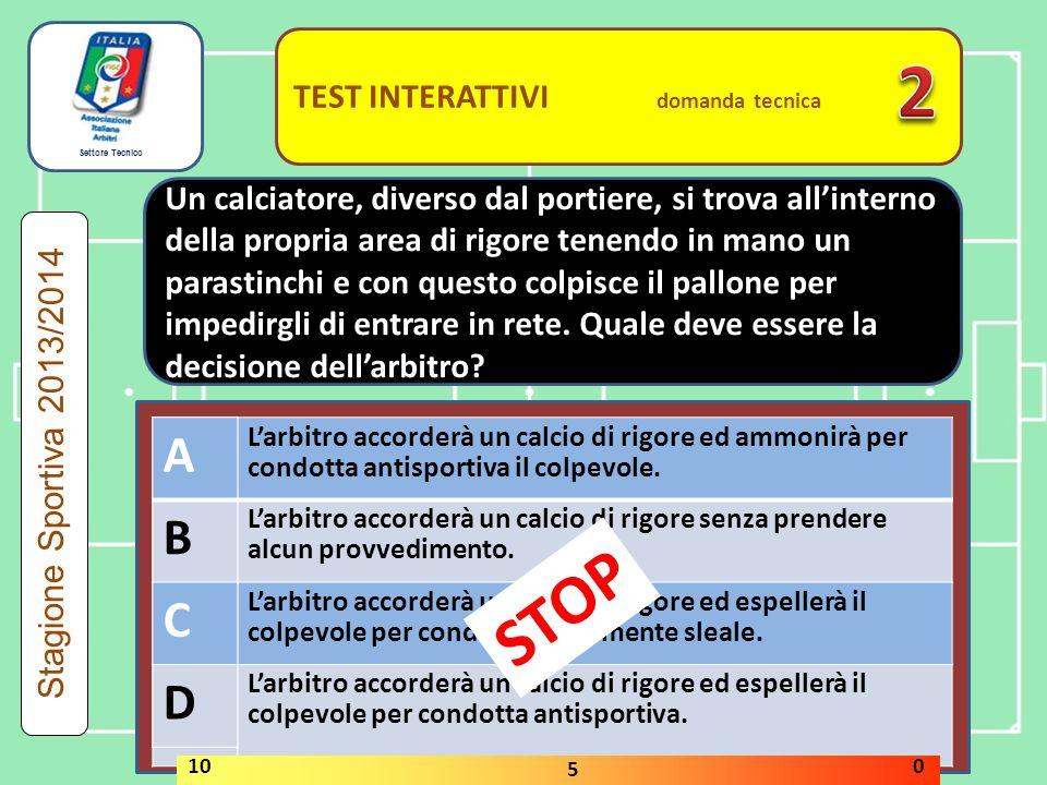 2 STOP A B C D A B C D TEST INTERATTIVI domanda tecnica