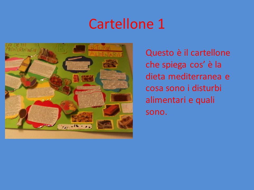 Cartellone 1 Questo è il cartellone che spiega cos' è la dieta mediterranea e cosa sono i disturbi alimentari e quali sono.