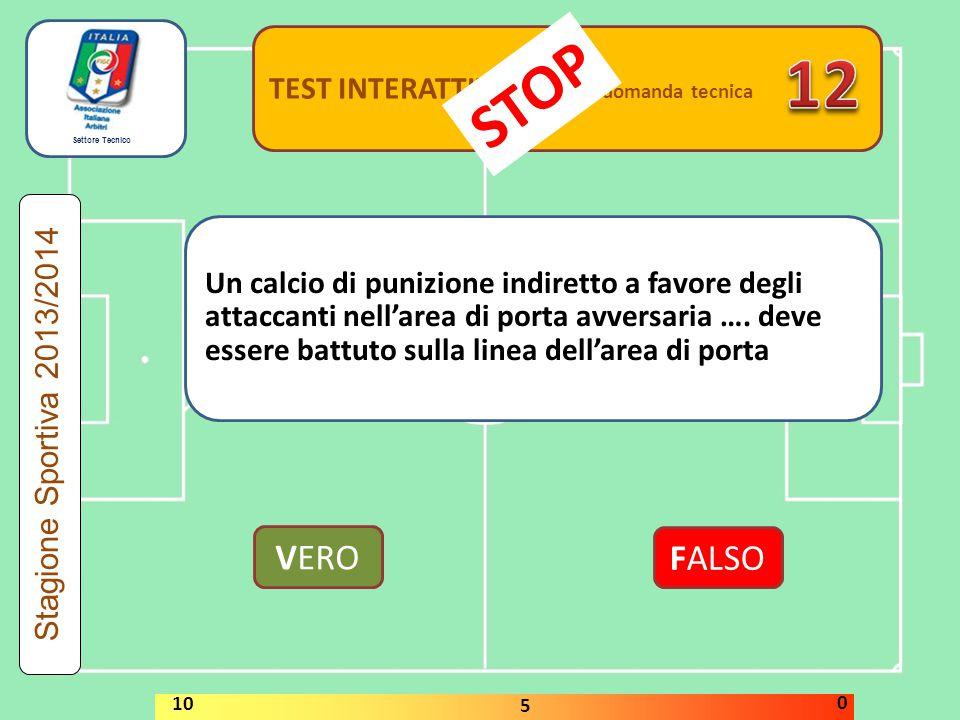 12 STOP VERO FALSO TEST INTERATTIVI domanda tecnica