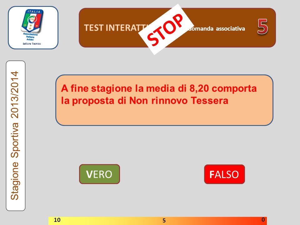 5 STOP VERO FALSO TEST INTERATTIVI domanda associativa