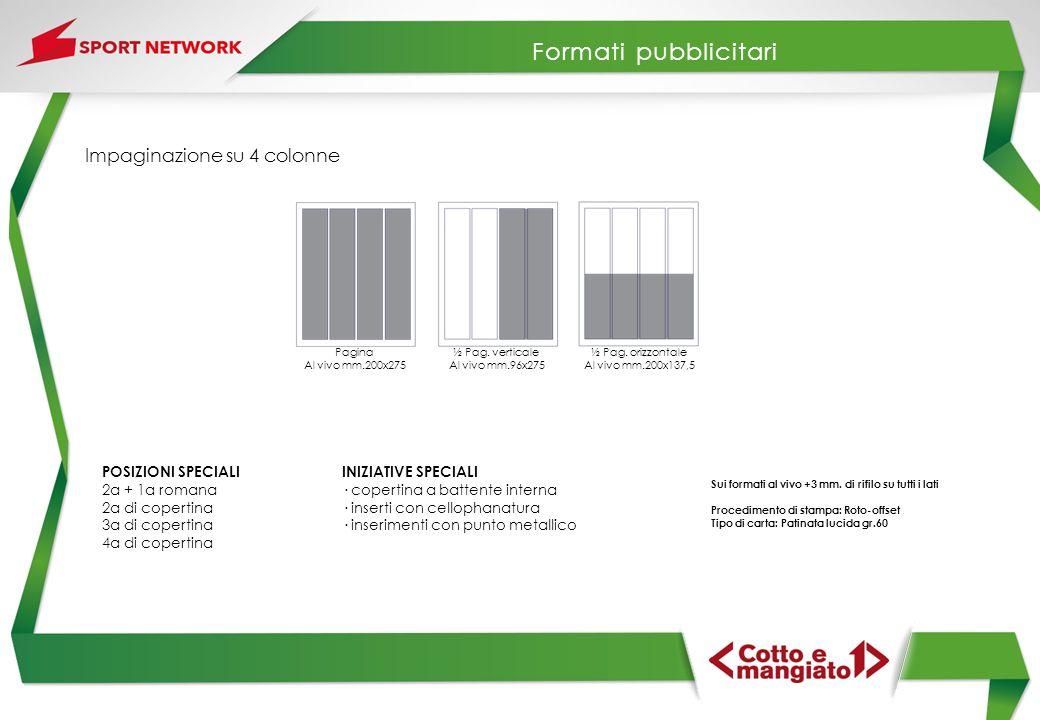 Formati pubblicitari Impaginazione su 4 colonne POSIZIONI SPECIALI