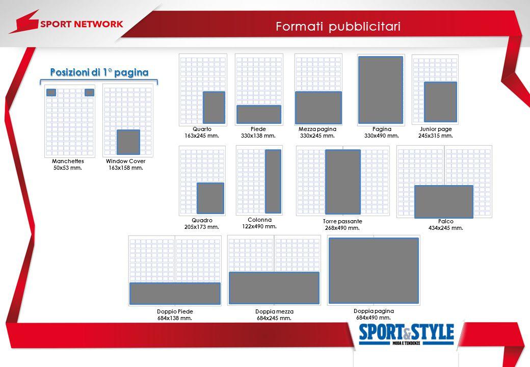 Formati pubblicitari Posizioni di 1° pagina Quarto 163x245 mm. Piede