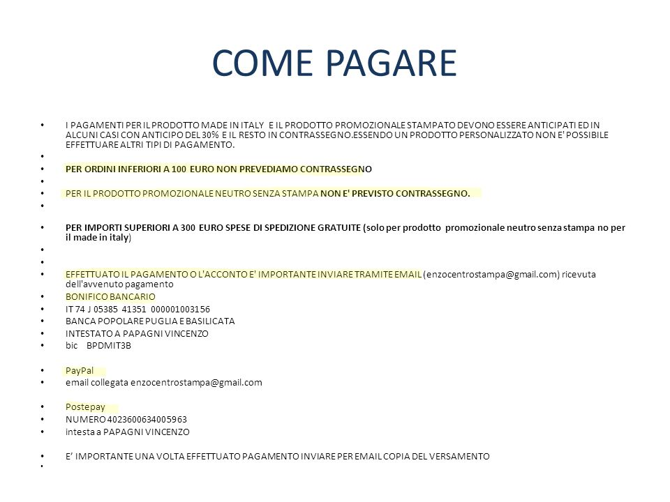 COME PAGARE