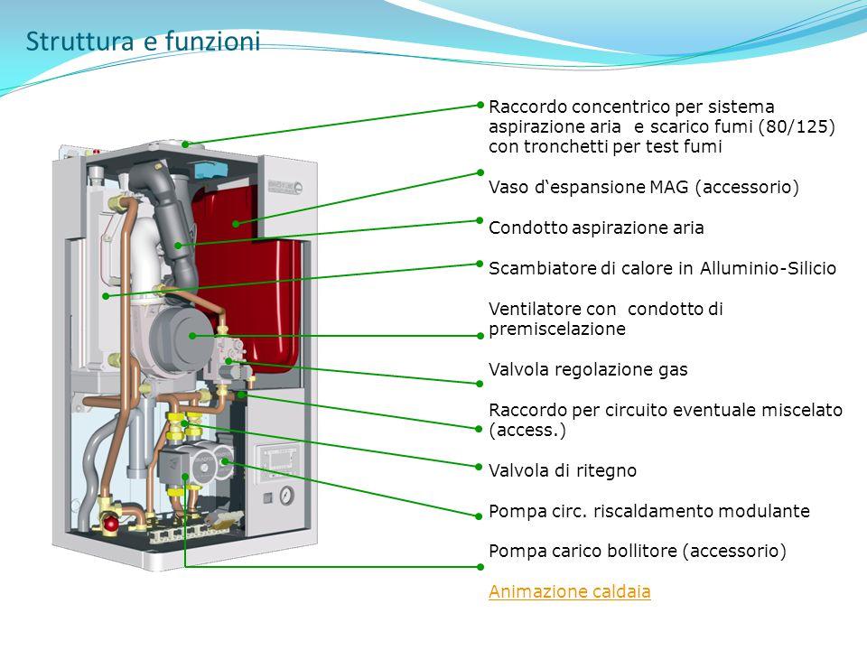 Struttura e funzioni Raccordo concentrico per sistema aspirazione aria e scarico fumi (80/125) con tronchetti per test fumi.