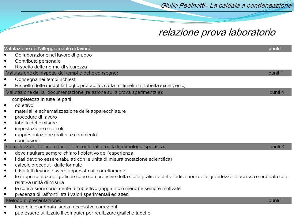 Gli indicatori per la valutazione: relazione prova laboratorio