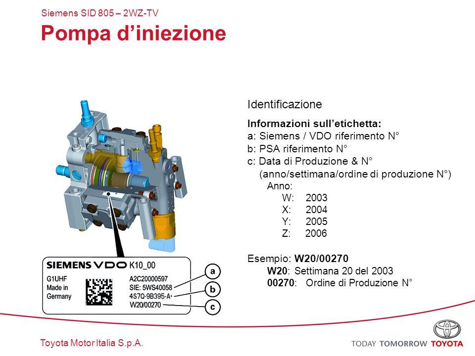 Pompa d'iniezione Identificazione Informazioni sull'etichetta: