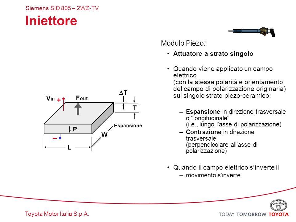 Iniettore + _ Modulo Piezo: Attuatore a strato singolo