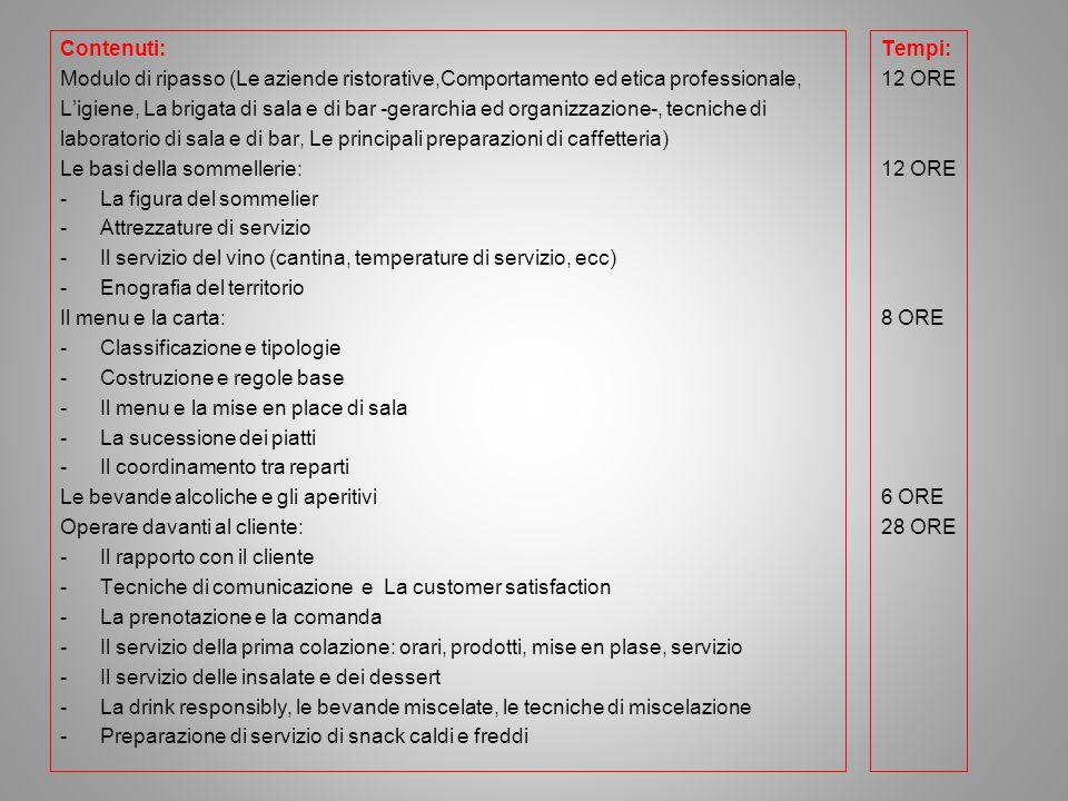Contenuti: Modulo di ripasso (Le aziende ristorative,Comportamento ed etica professionale,