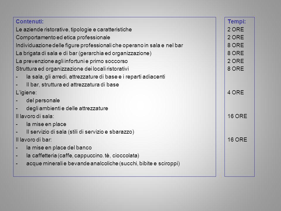 Contenuti: Le aziende ristorative, tipologie e caratteristiche. Comportamento ed etica professionale.