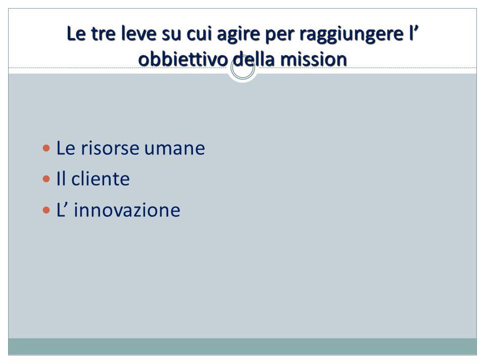 Le tre leve su cui agire per raggiungere l' obbiettivo della mission