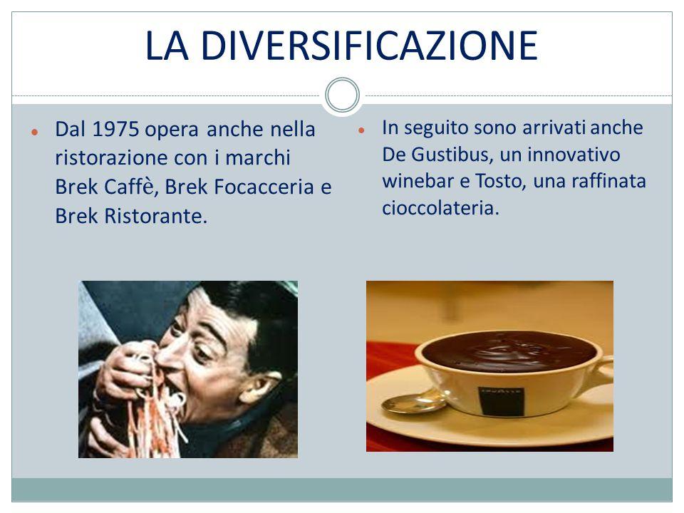 LA DIVERSIFICAZIONE Dal 1975 opera anche nella ristorazione con i marchi Brek Caffè, Brek Focacceria e Brek Ristorante.
