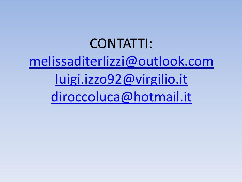CONTATTI: melissaditerlizzi@outlook. com luigi. izzo92@virgilio