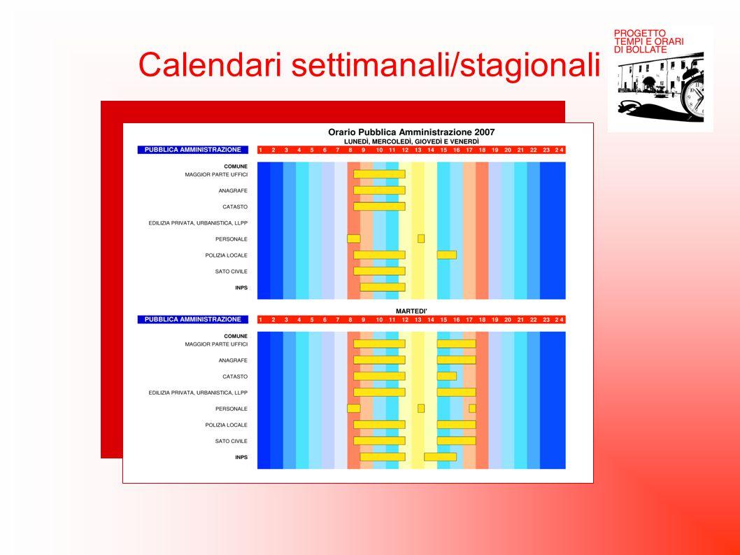 Calendari settimanali/stagionali