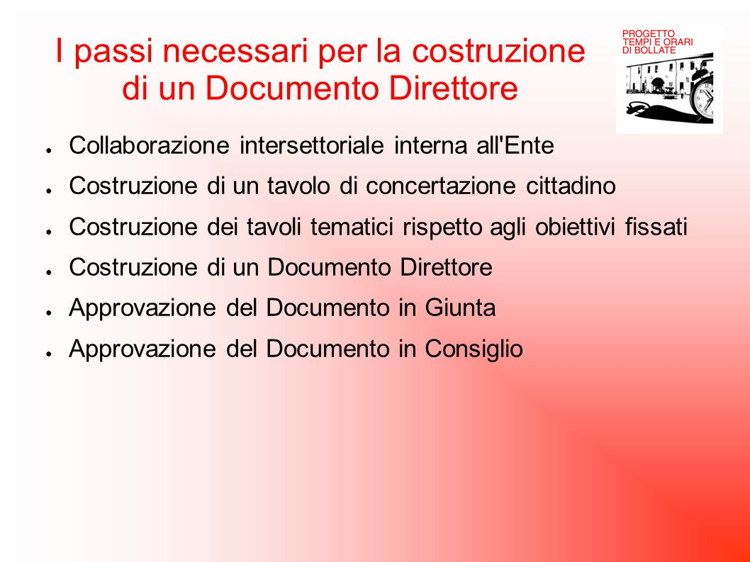I passi necessari per la costruzione di un Documento Direttore