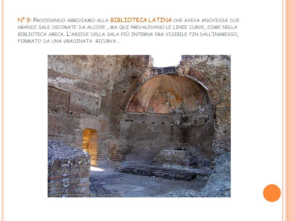 N° 9: Procedendo arriviamo alla BIBLIOTECA LATINA che aveva anch'essa due grandi sale decorate da alcove , ma qui prevalevano le linee curve, come nella biblioteca greca.