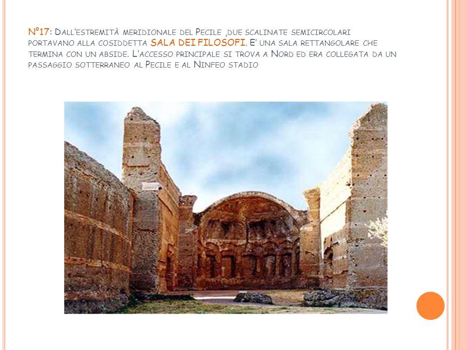 N°17: Dall'estremità meridionale del Pecile ,due scalinate semicircolari portavano alla cosiddetta SALA DEI FILOSOFI.