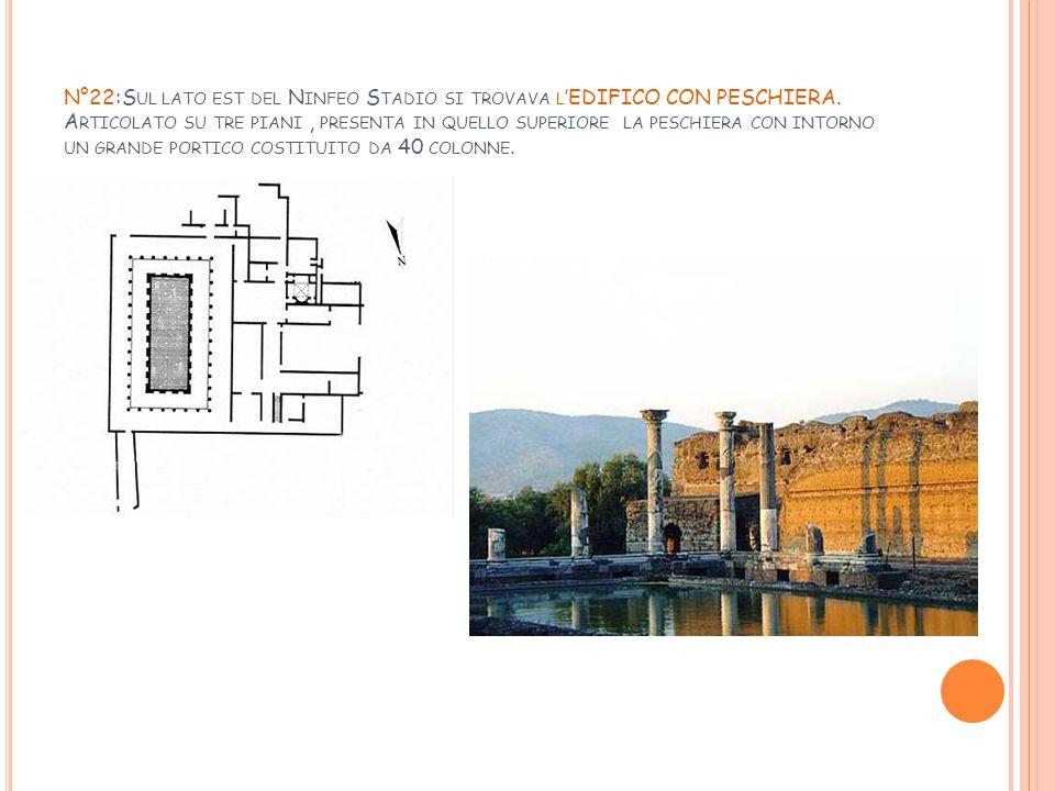 N°22:Sul lato est del Ninfeo Stadio si trovava l'EDIFICO CON PESCHIERA