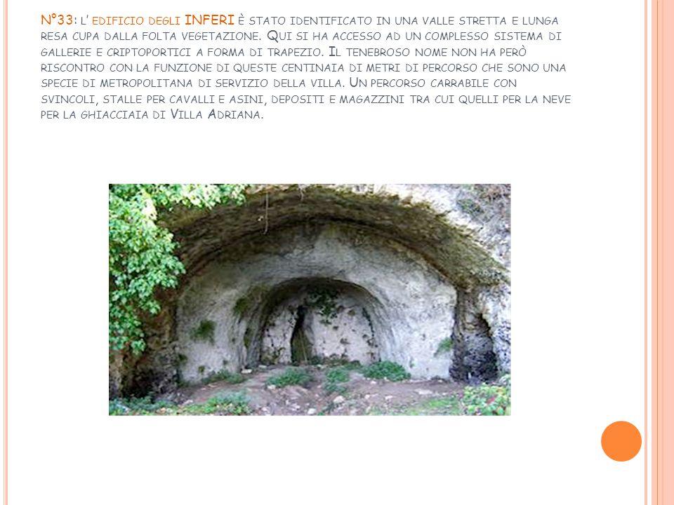 N°33: l' edificio degli INFERI è stato identificato in una valle stretta e lunga resa cupa dalla folta vegetazione.