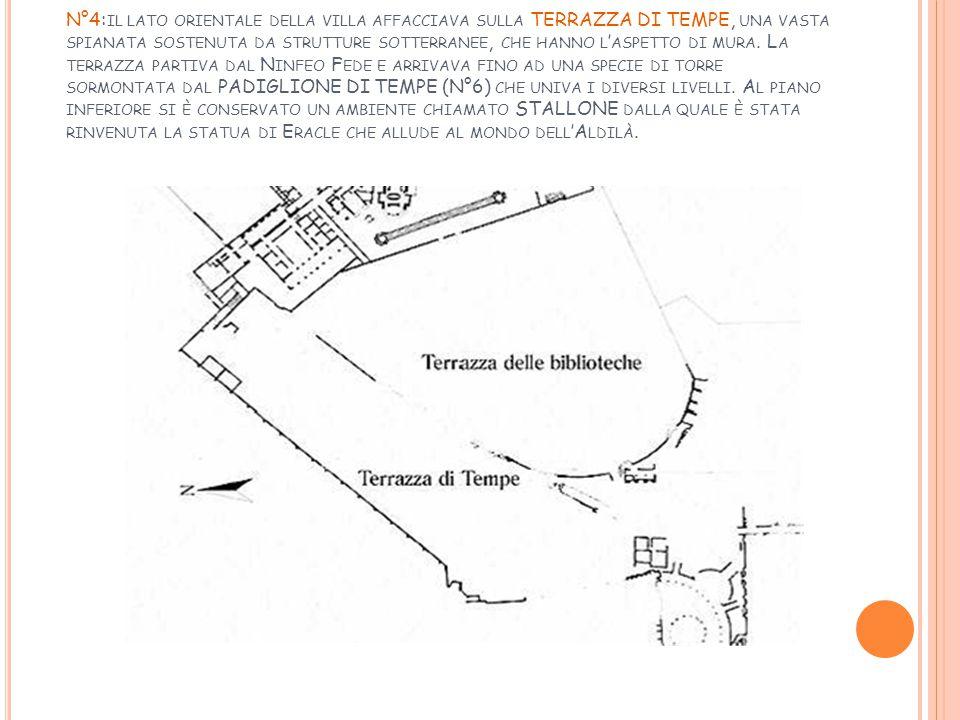 N°4:il lato orientale della villa affacciava sulla TERRAZZA DI TEMPE, una vasta spianata sostenuta da strutture sotterranee, che hanno l'aspetto di mura.
