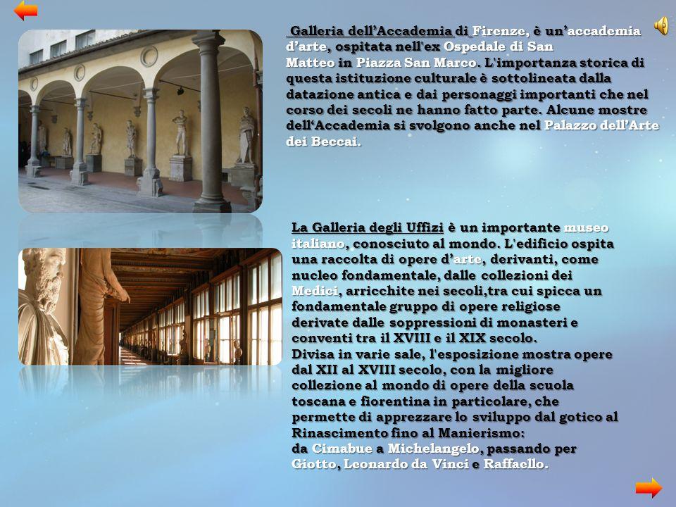 Galleria dell'Accademia di Firenze, è un'accademia d'arte, ospitata nell ex Ospedale di San Matteo in Piazza San Marco. L importanza storica di questa istituzione culturale è sottolineata dalla datazione antica e dai personaggi importanti che nel corso dei secoli ne hanno fatto parte. Alcune mostre dell'Accademia si svolgono anche nel Palazzo dell'Arte dei Beccai.