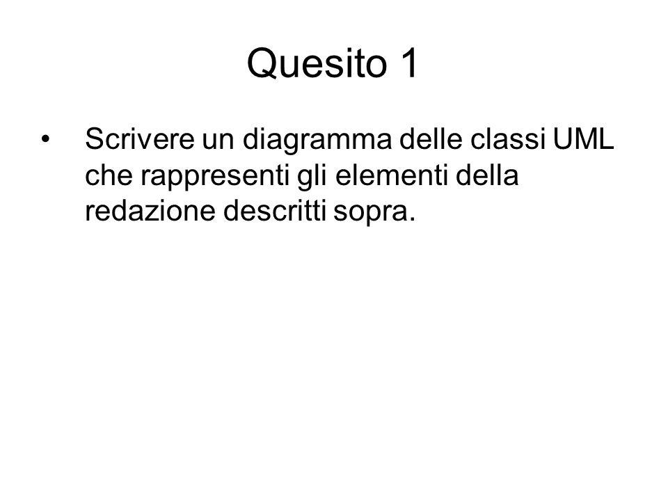 Quesito 1 Scrivere un diagramma delle classi UML che rappresenti gli elementi della redazione descritti sopra.