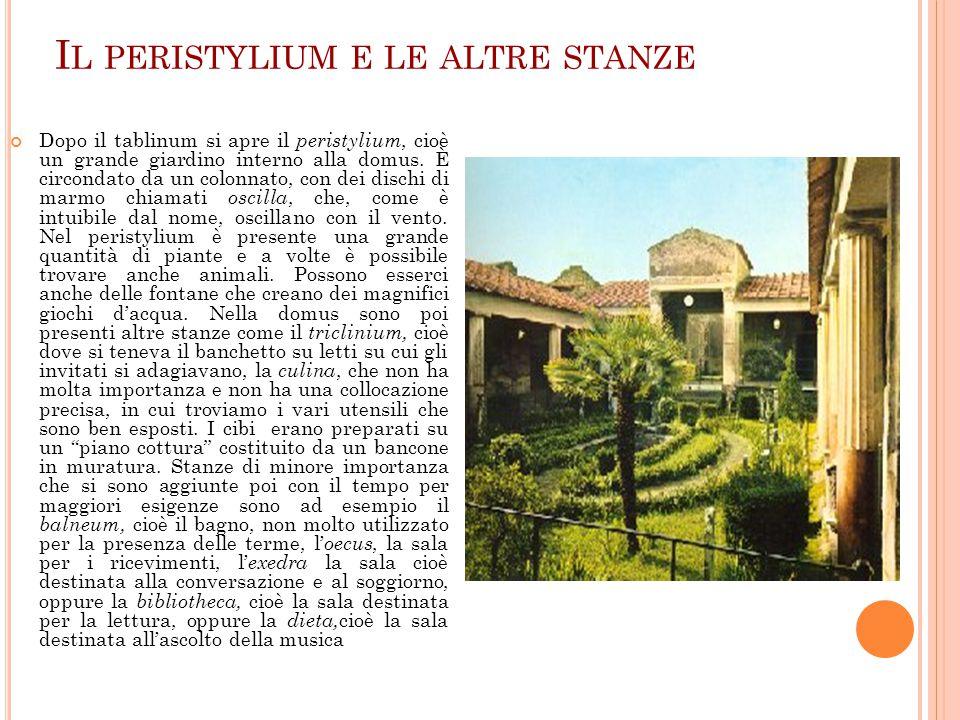Il peristylium e le altre stanze