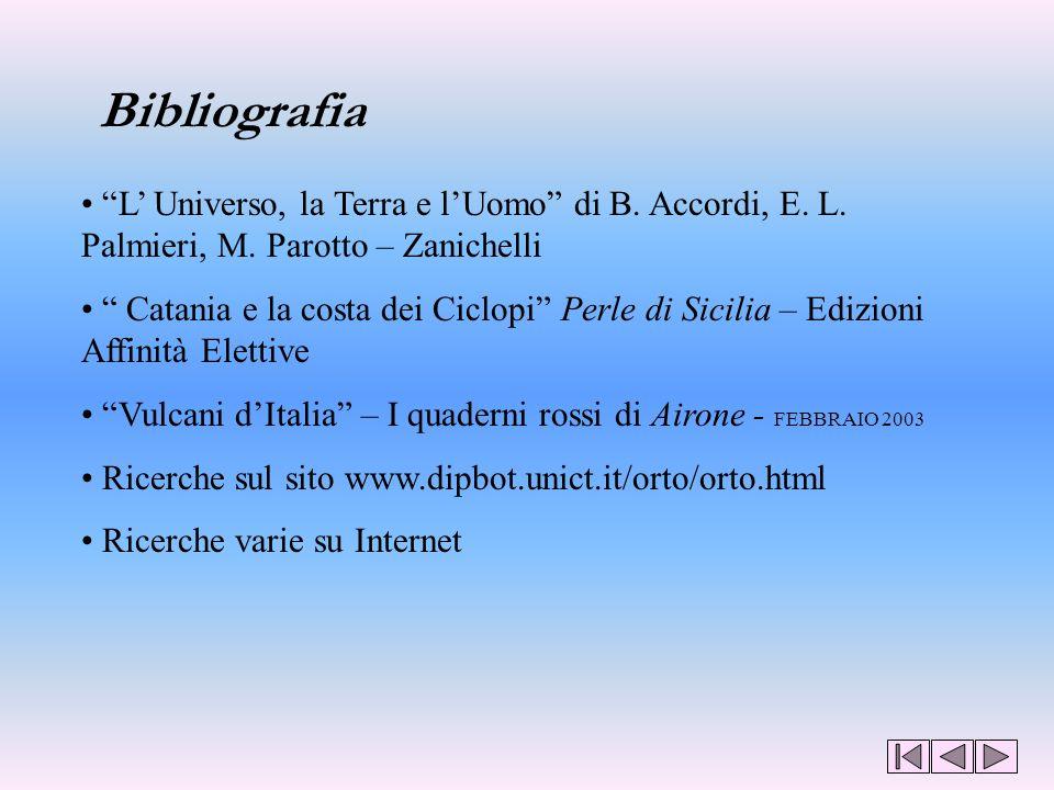 Bibliografia L' Universo, la Terra e l'Uomo di B. Accordi, E. L. Palmieri, M. Parotto – Zanichelli.