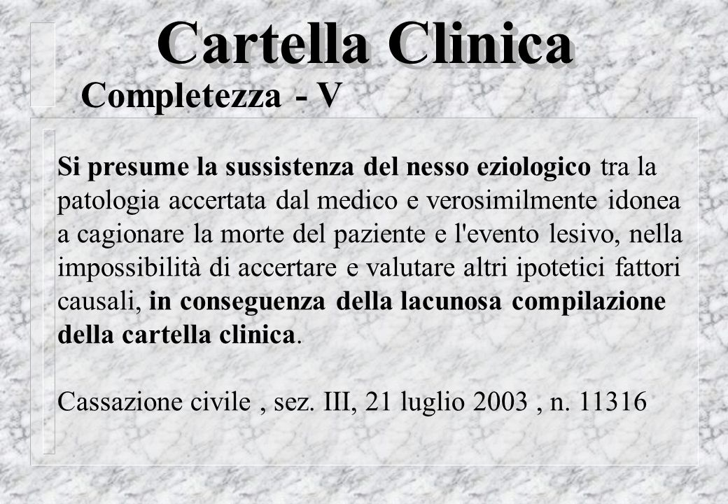 Cartella Clinica Completezza - V
