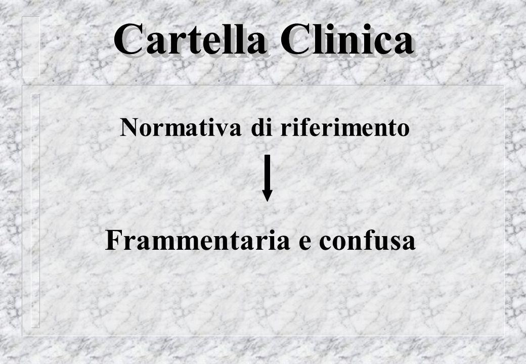 Cartella Clinica Normativa di riferimento Frammentaria e confusa