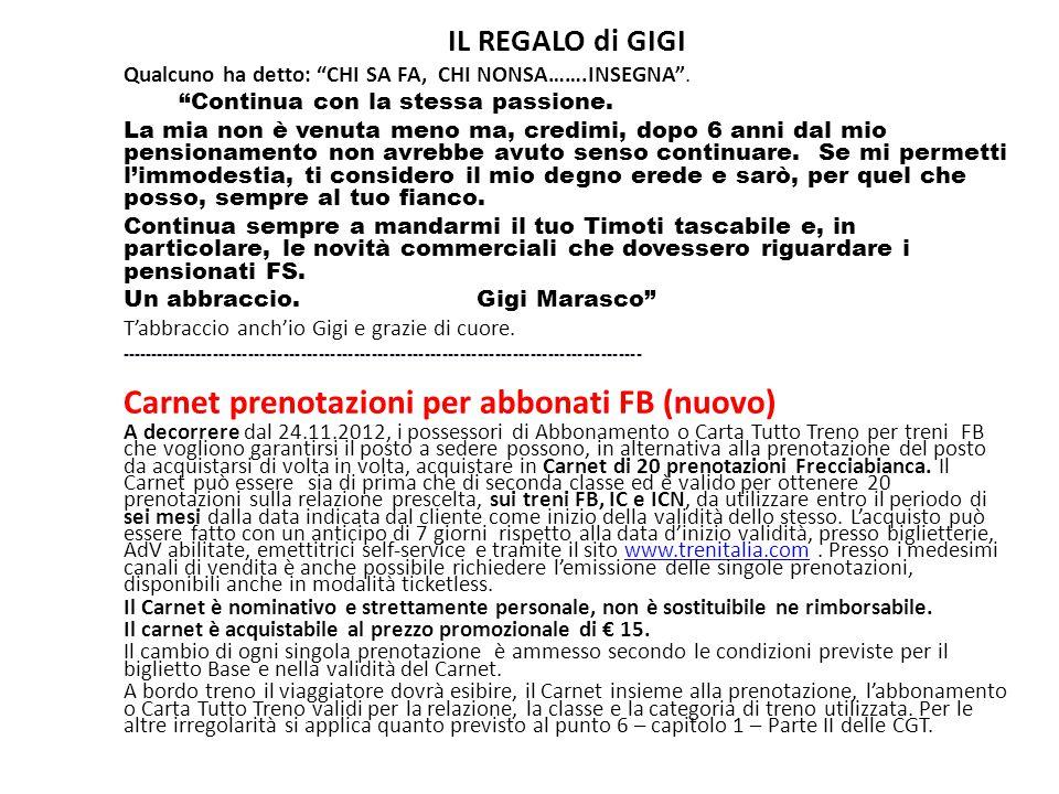 Carnet prenotazioni per abbonati FB (nuovo)