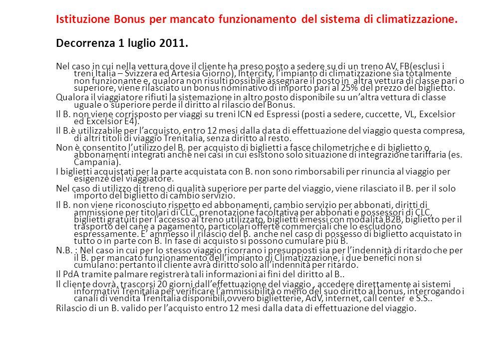 Istituzione Bonus per mancato funzionamento del sistema di climatizzazione.