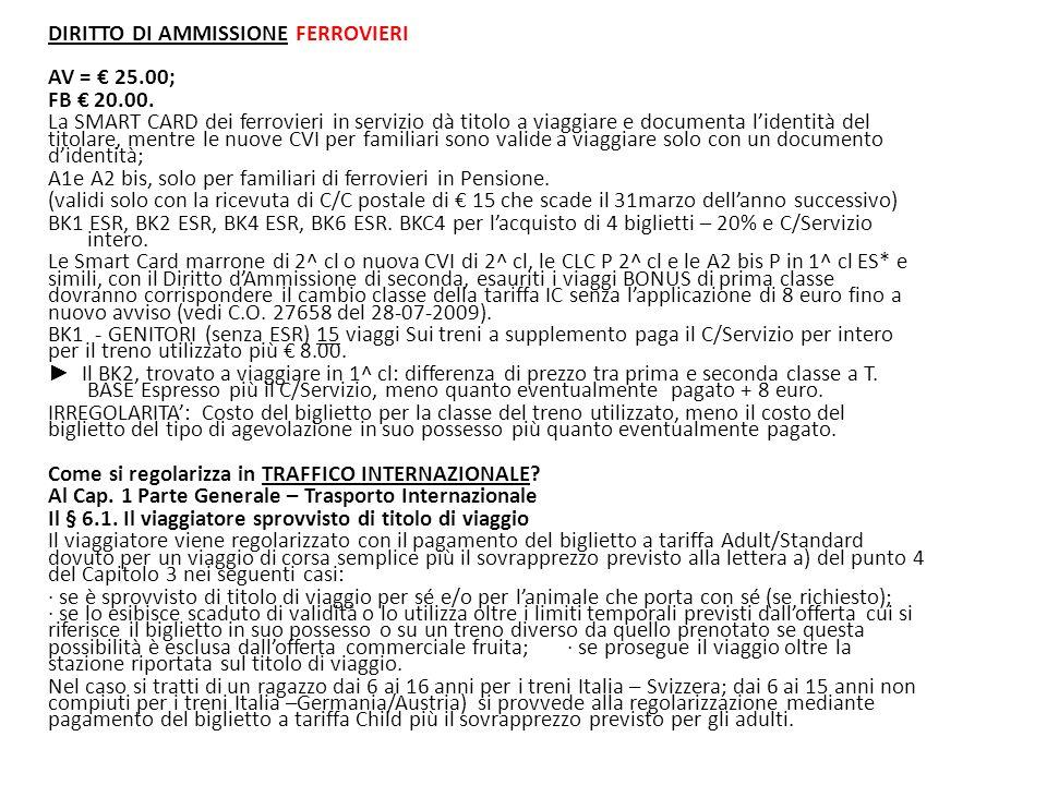 DIRITTO DI AMMISSIONE FERROVIERI AV = € 25. 00; FB € 20. 00
