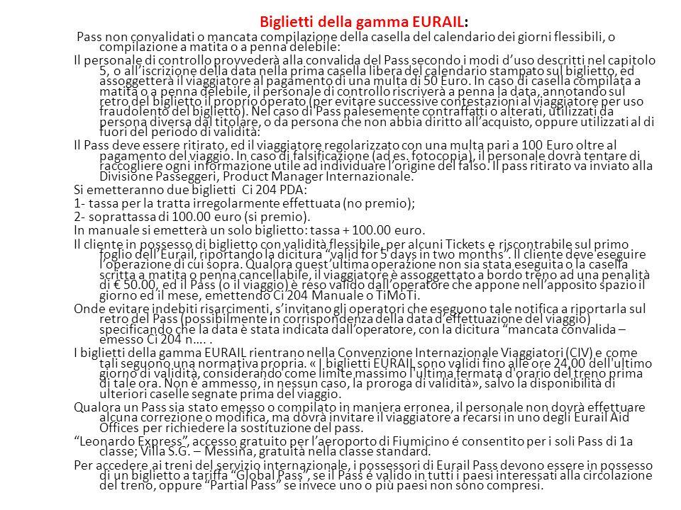 Biglietti della gamma EURAIL: