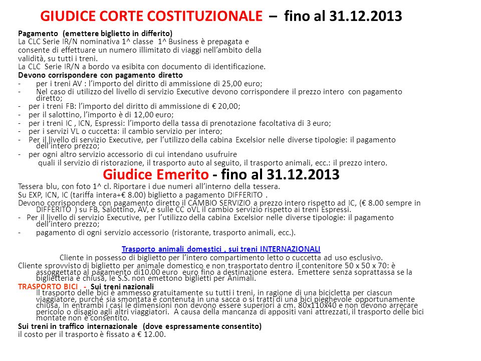 GIUDICE CORTE COSTITUZIONALE – fino al 31.12.2013