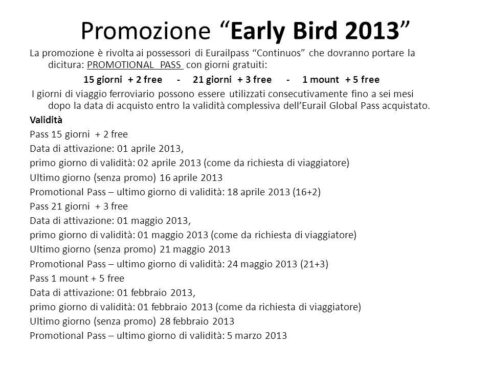 Promozione Early Bird 2013