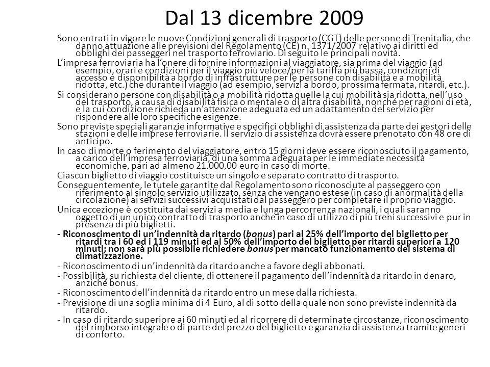Dal 13 dicembre 2009