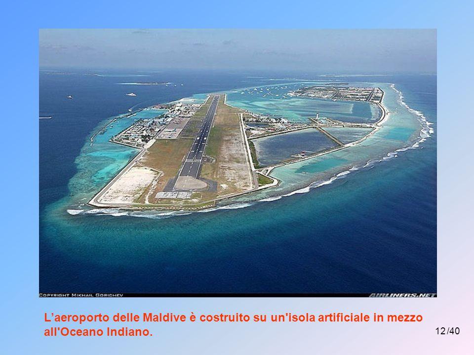 L'aeroporto delle Maldive è costruito su un isola artificiale in mezzo all Oceano Indiano.