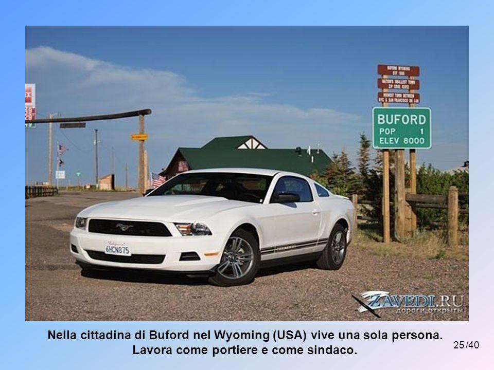 Nella cittadina di Buford nel Wyoming (USA) vive una sola persona