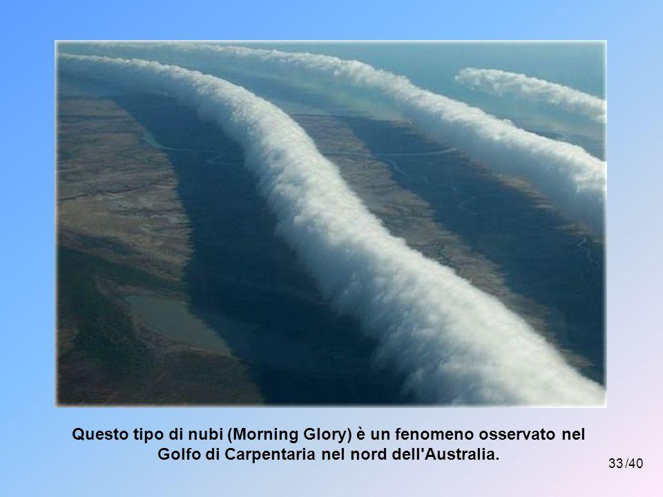 Questo tipo di nubi (Morning Glory) è un fenomeno osservato nel Golfo di Carpentaria nel nord dell Australia.