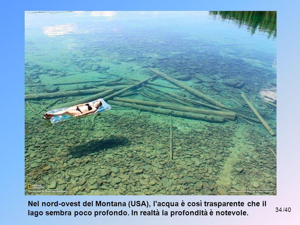 Nel nord-ovest del Montana (USA), l acqua è così trasparente che il lago sembra poco profondo. In realtà la profondità è notevole.