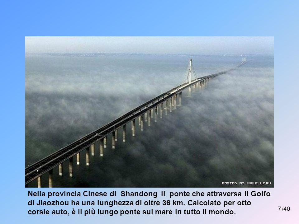 Nella provincia Cinese di Shandong il ponte che attraversa il Golfo di Jiaozhou ha una lunghezza di oltre 36 km. Calcolato per otto corsie auto, è il più lungo ponte sul mare in tutto il mondo.