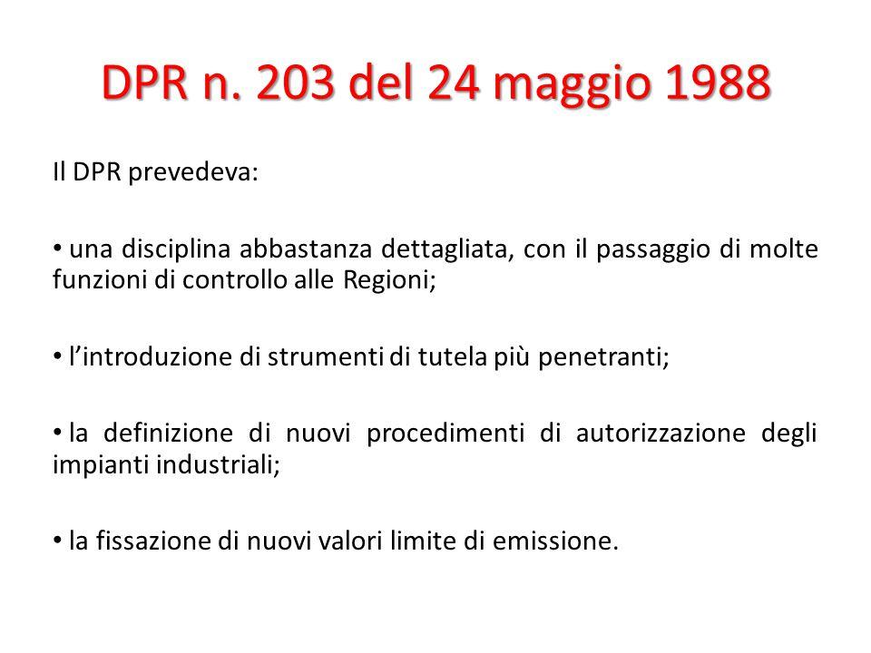 DPR n. 203 del 24 maggio 1988 Il DPR prevedeva: