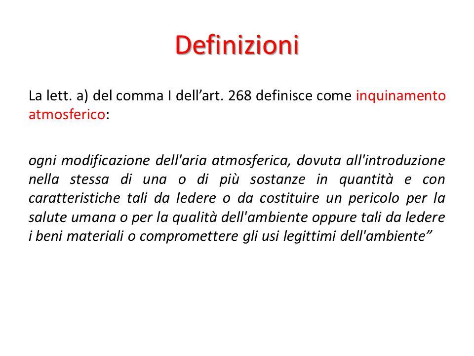 Definizioni La lett. a) del comma I dell'art. 268 definisce come inquinamento atmosferico: