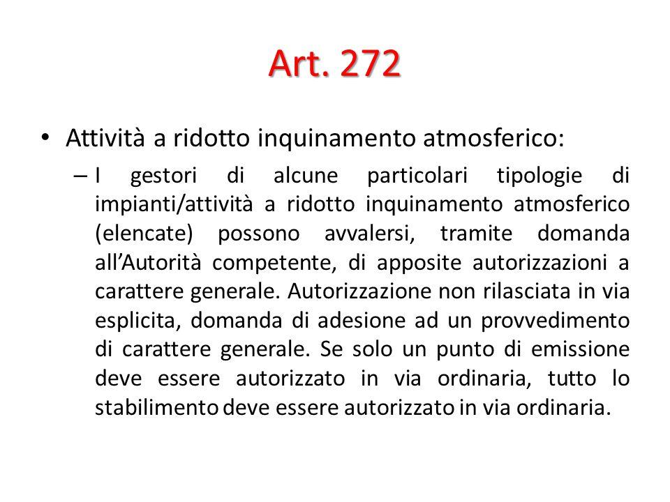 Art. 272 Attività a ridotto inquinamento atmosferico: